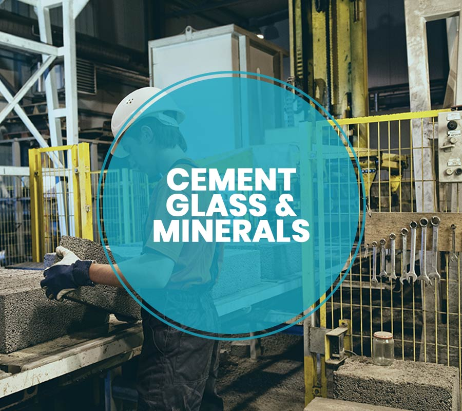 Cement, glass, minerals
